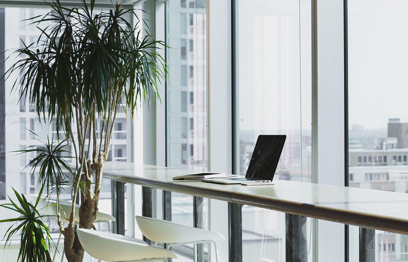 Laptop at social media agency office