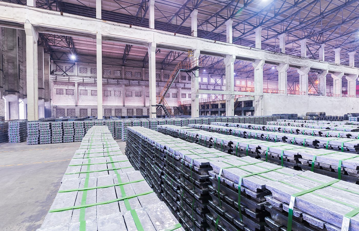 lead ingots in a factory warehouse, industrial manufacturing background